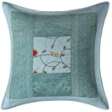 Stylo Culture Indisches dekoratives Sofakissen 40x40 Home Decor hellblau bestickter Brokat Patchwork...