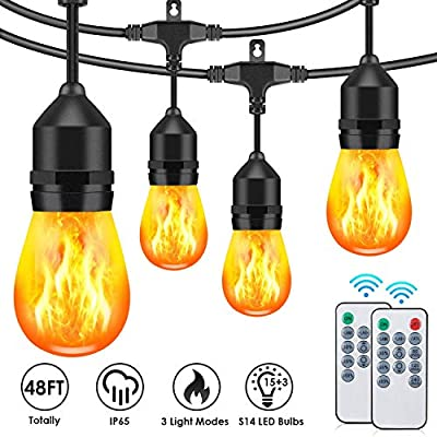 48FT Outdoor String Lights with LED Flickering Flame Effect, 3 Modes Commercial Waterproof Dimmable Patio Lights with Remote, 15+3 Shatterproof LED Bulb String Light for Christmas Party Cafe Deck