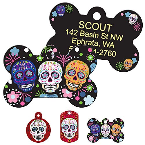 GoTags Day of The Dead Personalized Dog Tags, Skull, Halloween Pet ID Tags with up to 4 Lines of Custom Text