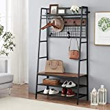 O&K FURNITURE 5-In-1 Hall Tree with Storage Bench, Entryway Storage Organizer, 3-Tier Coat Rack Shoe Bench with 11 Hooks and Hanging Rod, Brown Finish