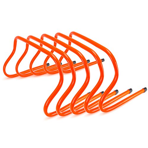 Agility Training Hurdles, 5-Pack - Hi Visibility Speed Endurance Indoor/Outdoor Practice Equipment for Track & Field - Fences for Sports Team Condition & Coaching Football, Soccer, Cross Country