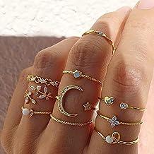 10 stks/set Zoete Kristallen Blad Bloem Maan Ster Opening Hart Ringen voor Vrouwen Mode Geometrische Gouden Imitatie Parel...