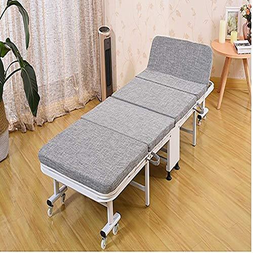 FTFTO Haushaltsprodukte Vierfach klappbares Einzelbett Haushalt einfaches Bett Büro Mittagspause Nickerchen Bett Begleitbett grau beige Beige 74,8 mal; 11 mal; 31,5