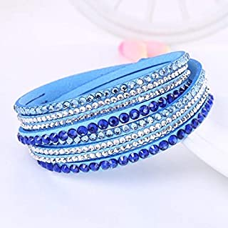 Jewelry,Bracelets,Brooch Women Multilayer Leather Rhinestone Crystal Wrap Bracelets(Orange).Perfect for all occasions: anniversary, engagement, party, meeting, dating, wedding, daily wear
