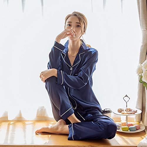 Pijamas Mujer Camisón Pijamas De Mujer Ropa De Dormir De Seda Sintética Conjunto De Pijamas De Satén Estampado De Flores Mangas Largas Otoño Invierno Homewear XL Bluepajamas