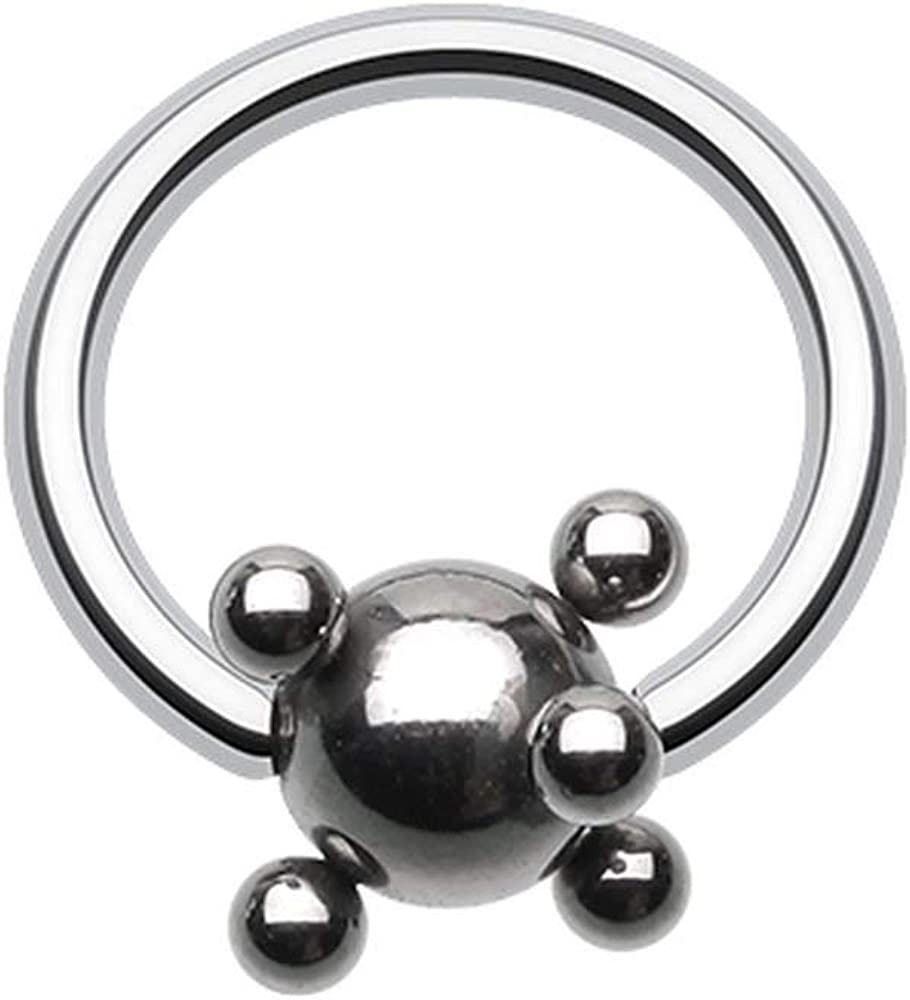 Covet Jewelry Studded Ball Steel Captive Bead Ring