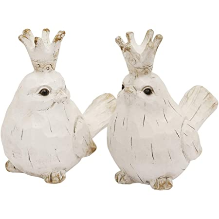 Amazon Com Benjara White And Brown Benzara Bm189526 Distressed Polyresin Figurines Featuring Birds With Crowns Set Of Two Home Kitchen
