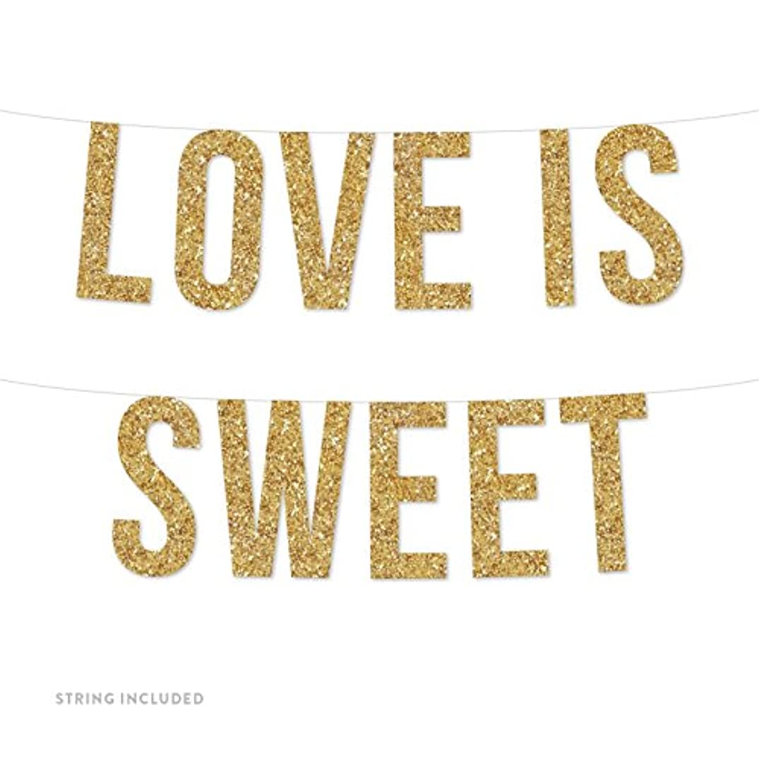 Andaz Press Real Glitter Paper Pennant Hanging Banner, Love is Sweet, Gold Glitter, Includes String, Pre-Strung, No Assembly Required, 1-Set