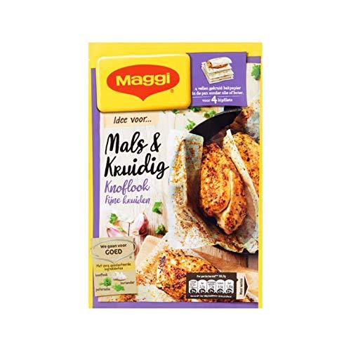 Mezcla de ajo con pollo y hierbas   Maggi   Bolsa de hierbas finas y tiernas de ajo picante con 4 hojas de papel para hornear sazonado   Peso total 23.7 gramos