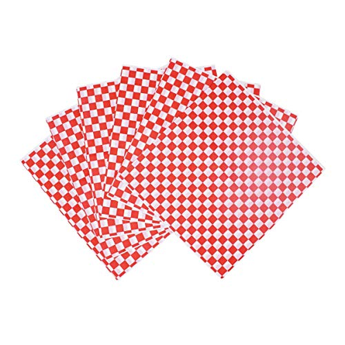 100 Sheets Food Grade Tissue Paper Food Basket Liners Oil-Proof Deli BBQ Hamburgers Sandwich Wrapping Tissue Red and White Grid 10' x 11'