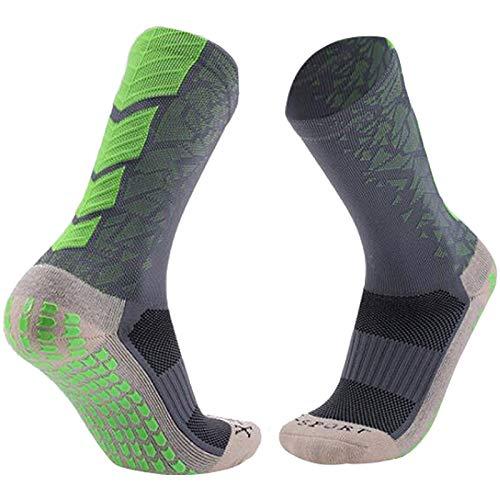 Manbozix Calcetines de Los Hombres Calcetines de Fútbol Calcetines Deportivos Antideslizantes Calcetines Transpirables Calcetines de Entrenamiento para Adultos 38-44, Gris Verdoso
