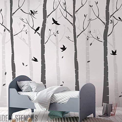 Buche Baum Wald Kinderzimmer Wand Schablone Packung Erschaffe ein Maßgeschneidert Gemalt Wandbild der Birke Bäume & Vögel in Ihrem Kinderzimmer Heim Dekor Wand Schablonen
