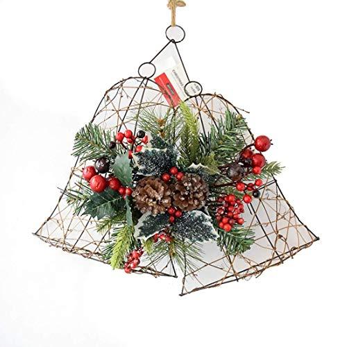 NLRHH Girlande Weihnachten auf glockenförmigen Girlande Kiefernkegel Rot Obst Weihnachtstag Fenster Wandbehang Handgemachte Girlande Hergestellt aus Schmiedeeisen 45 cm Green DIY Peng
