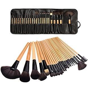 LyDia® UK STOCK Professional 24pcs Natural Wooden handle Black/brown Make Up Brush Set with Case:Videomesum