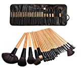 LyDia?Professional 24pcs Natural Wooden handle Black/brown Make Up Brush Set with Case by LyDia Beauty