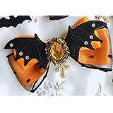 MengCハロウィンヴィンテージスタイルゴシック魔法少女サイドクリップかわいい弓コウモリの翼魔女頭飾りロリータヘアピンコスプレ手作りヘアクリップ,Pumpkin 1Pcs