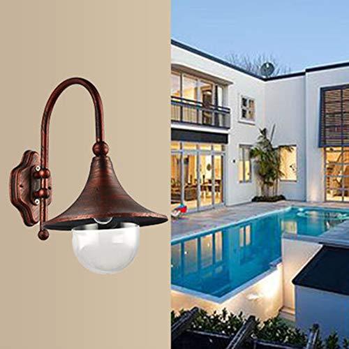 WWTTER ACurved Tube Retro Outdoor Waterdichte Patio Villa Balkon Aisle LED Wandlamp (Zwart) NN (Kleur : Rood Oud)