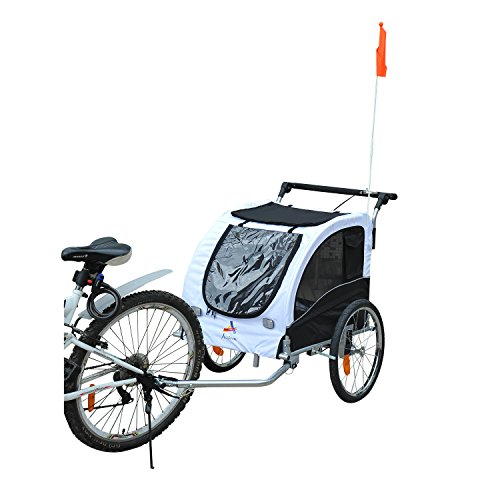 2-in-1 Pet Dog Bike Trailer and Stroller with Suspension
