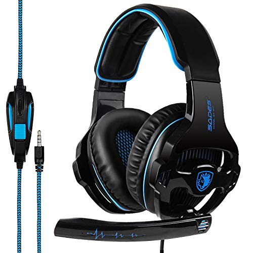 SADES SA810 Gaming Headset Surround Sound Stereo Headphones Bass Gaming Headphones with Noise Isolation Microphone Volume Control for Xbox One PS4 PC Laptop Mac Mobile