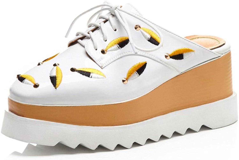 JIANXIN Stickerei Baotou No No Heels Faule Schuhe Damenschuhe Nein Pantoletten Schuhe Dicke Sohle Schuhe Plateauschuhe Frühling Sommer (Farbe   Weiß, Größe   EU 35 US 4.5 UK 2)  Stadion Werbegeschenke