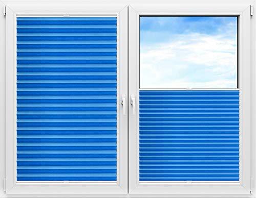 Grabek Plissee Rollo ohne Bohren, Faltrollo für Fenster und Tür, Jalousie Sonnenschutz und Sichtschutz, Plisseerollo Klemmfix, Leicht zu Montieren, mit Klemmträger