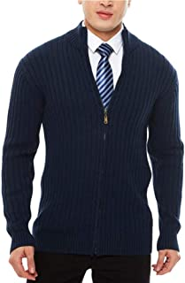 Men's Casual Slim Fit Cardigan Sweaters with Zipper Cotton Knitted Cardigan for Men