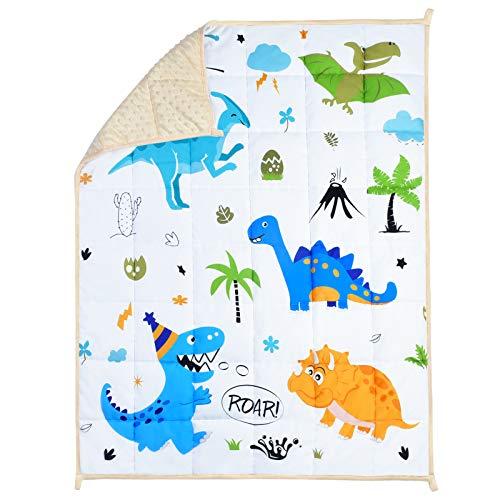 WERNNSAI Dinosaurier Gewichtete Decke für Kinder 2.3 kg 90 x 120 cm - Weiß Schwere Decke Dschungel zum Kleinkind Jugendliche Kind