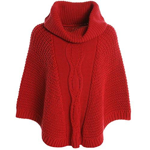 BEZLIT Mädchen Strick Poncho Mädchen Schalkragen Rollkragen Kinder Winter 20783 Rot Größe 164