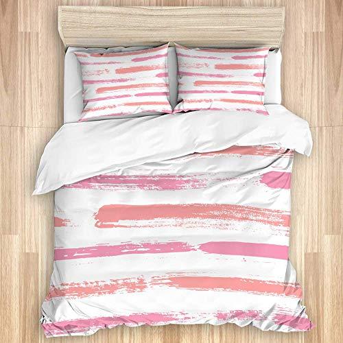 Juego de funda nórdica de 3 piezas, pinceladas ásperas rectas de grunge abstracto, elementos de color rosa coral pálido, gráfico de tinta Doodle, juegos de fundas de edredón para dormitorio, colcha co