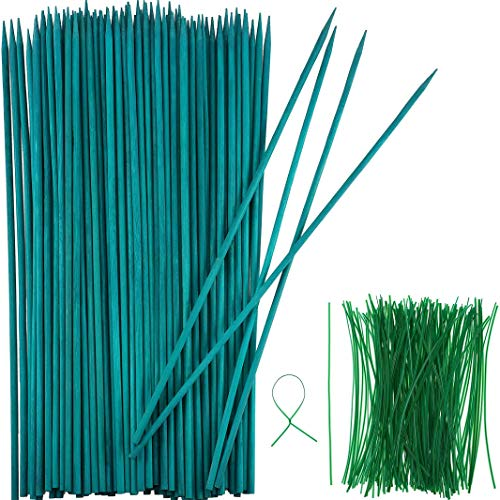 Grünem Holz Pflanzen Stock Blume Pflanzen Unterstützung Holz Bambus Stock Natürlich Handwerk Picks mit 100 Stücken 15 cm Langen, Grünen Metallisch Binde Bändern (40 cm, 50 Stücke)