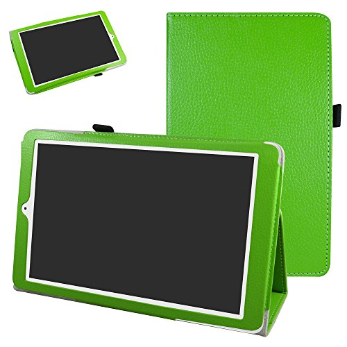 Mama Mouth Alcatel Onetouch PIXI 3 (10) Funda, Slim PU Cuero con Soporte Funda Caso Case para 10.1' Alcatel One Touch Pixi3 10 Android Tablet,Verde