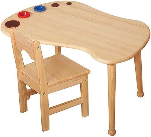 precios razonables Mesa y sillas de madera madera madera maciza de moda, muebles de madera maciza para Niños, mesa de Niños de madera maciza para sala de juegos   guardería   preescolar, capacidad de carga fuerte Acabado natural  gran descuento