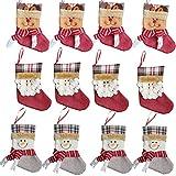 Forze Christmas 3D Decorative Socks Candy Gift Bag, Santa Snowman Reindeer Gift Card Silverware Holders 12 Pieces Mini Christmas Stockings Xmas Tree Decorations Set