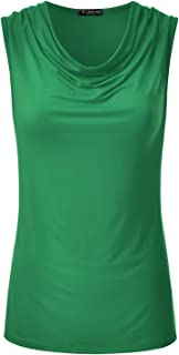 Women's Cowl Neck Ruched Draped Sleeveless Stretchy Blouse Tank Top (S-3X)