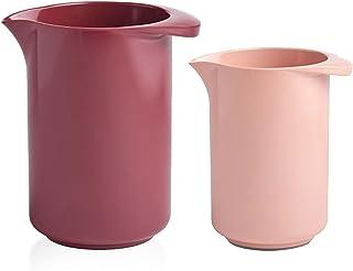Rosti Lot de 2 bols mélangeurs avec couvercle Rose mélangée 0,5 l et 1 l