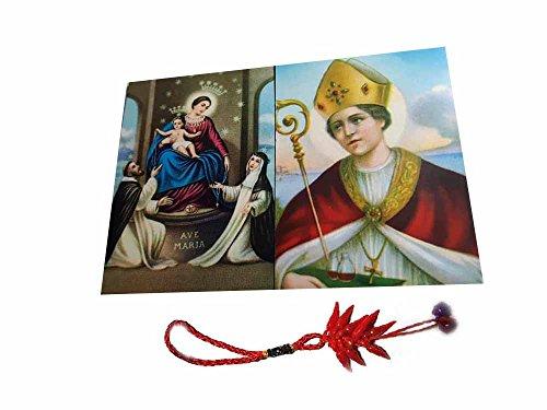 Artesanal ricevi 2imanes Pintados Santini 5x 7cm Imán Color San Gennaro y Virgen de Pompeya y un Llavero Incluye Amuleto Corni