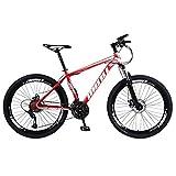 kashyk Vélo VTT 26' en acier au carbone Convient aux garçons/hommes de 1,60 m à 1,85 m Freins à disque à l'avant et à l'arrière 21 vitesses Suspension complète, ABS, rouge, taille unique