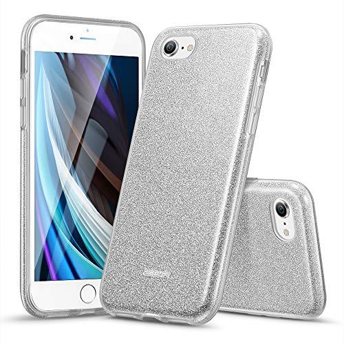 ESR Glitzer Hülle kompatibel mit iPhone SE(2020)/8/7 Hülle, Glitter Funkel Hülle für Frauen [DREI Schichten] [Unterstützt kabelloses Laden] für iPhone SE (2020) & iPhone 8/7, Maze Silver