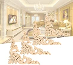 Maxmartt Rub On Decor Transfers,4PCS Wall Stickers Vintage Wood Carving Carved Decal Corner Onlay Applique Frame Furniture Wall Unpainted for Home Cabinet Door Decor Craft DIY Wood Color(12 x 12cm / 4.72in)