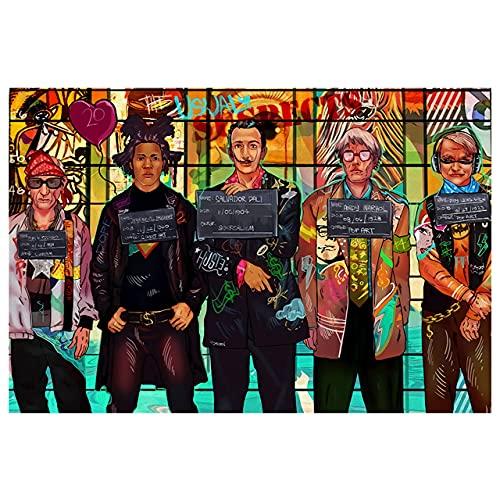 WQHLSH Straat Graffiti Criminal Art Canvas Schilderijen Kunst Muur Decoratieve Poster Afdrukken Pictures Fotos voor Woonkamer Slaapkamer Woondecoratie 24x32inchx1 Geen frame