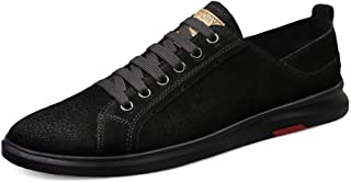 XUJW-Shoes, Fashion Sneakers for Men Casual Skateboard Flat Walking Shoes Lace up Suede Leather Low Top Soft Flexible Durable Walking Shopping Travel Driving (Color : Black, Size : 6.5 UK)