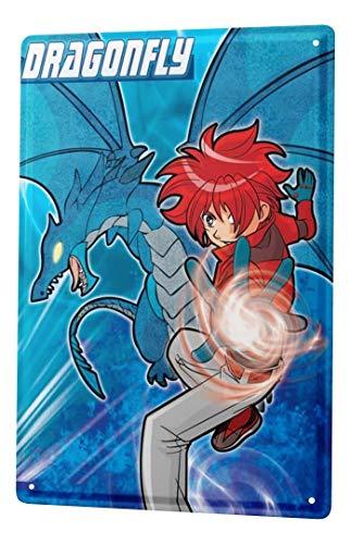 LEotiE SINCE 2004 Plaque en Métal Métallique Poster Mural tin Sign Décoratif Amusant Dragon de Manga Libellule Paroi Métallique Signes 20X30 cm
