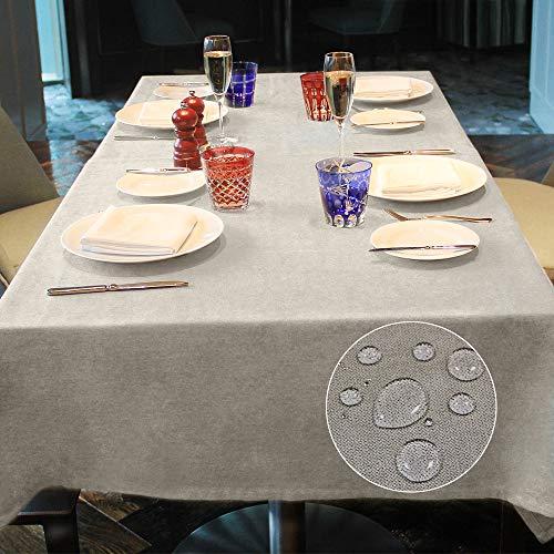 LUOLUO Mantel Rectangular Mantel Antimanchas Mantel Impermeable Mantel de Cocina para Cumpleaños Navidad (Nácar, 140x180cm)