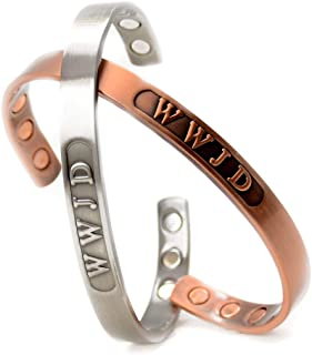 Magnetic Copper Therapy Healing Golf Cuff Bangle Bracelet, WWJD