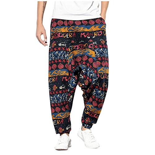 Learn More About Wadonerful-men Vintage Harem Pants Ethnic Style Print Casual Loose Long Pants Summe...