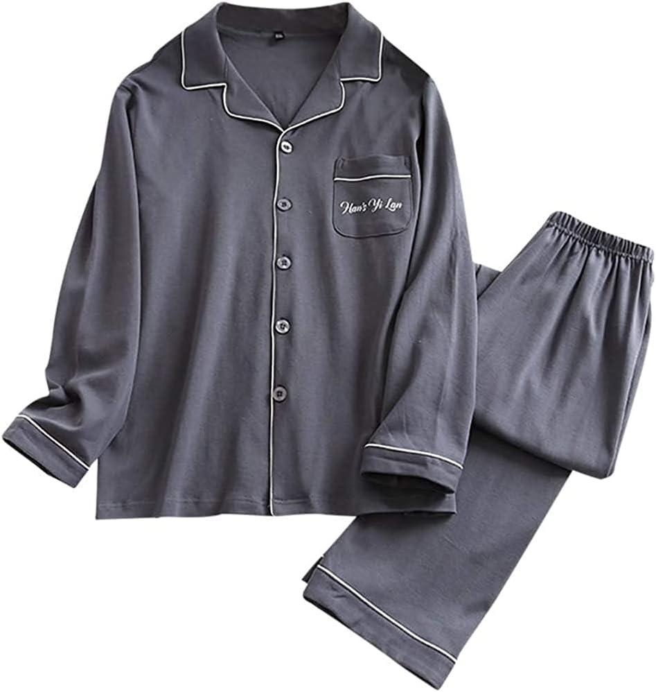 HAOHANYOUPIN Menx27;s Pyjamas Set Cotton Plaid Long Sleeve Top & Bottoms Loungewear Nightwear Sleepwear PJ Sets Mens Pajama Pants (Color : Dark Grey, Size : XL)