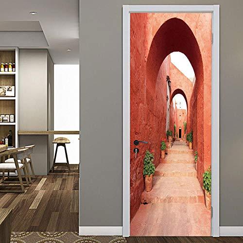 Deursticker Rode Ladder Creatieve 3D Driedimensionale Huis Persoonlijkheid Decoratie Muursticker Zelfklevende Waterdichte Muurschildering-77X200Cm