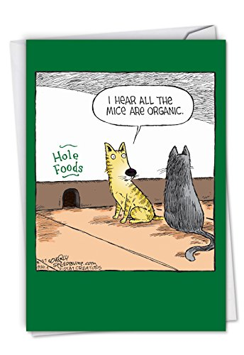 Hole Foods - Funny Happy Birthday Note Card with Envelope (4.63 x 6.75 Inch) - Hilarious Bday Celebration Greeting Card - Humorous Printed Animal Themed Stationery Notecard C2684BDG