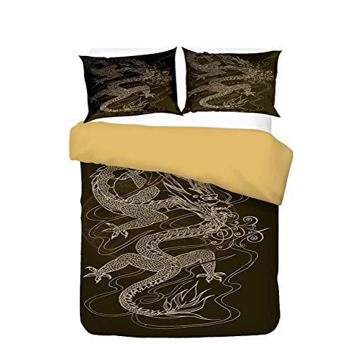LanS 3D stereo China painting Oriental dragon duvet cover Bedding Set, duvet cover and pillowcase, 3/4 Piece Set (duvet cover + 2 pillowcases + Sheets) health/soft/colourfast (E,King-3PCS-220×230cm)
