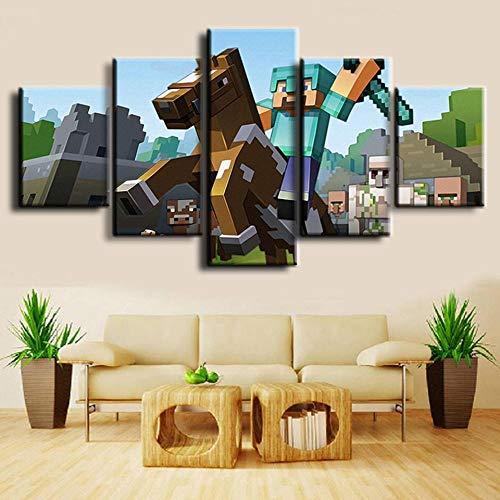 LIUWW Minecraft Spiel Wandkunst Leinwand Malerei HD-Druck 5 Stück Wohnzimmer Malerei Leinwand Wandkünstler Home Dekoration Bild Grafik